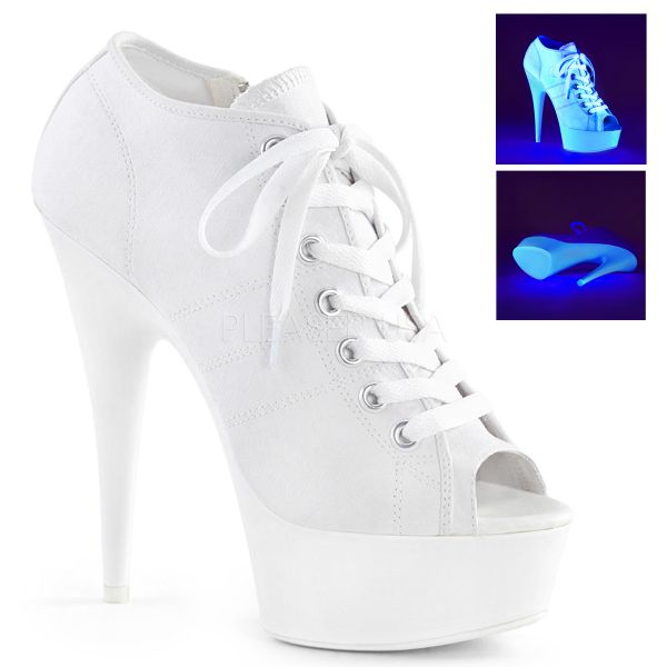 Weiße Canvas High Heel Peep Toe Sneaker DELIGHT-600SK-01